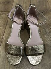 New Jcrew Gold Leather Metallic Sandals Heels Shoes Sz 8