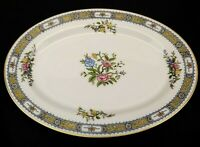 Noritake Pekin Fine China 10 inch Oval Platter White Pink Blue Gold