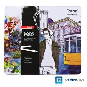 Jasart® Premium Art Colour Pencils Assorted Designer Tin of 24 FREE Delivery