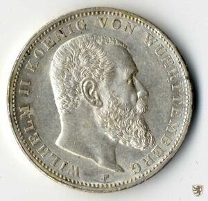WÜRTTEMBERG, Wilhelm II., 3 Mark, 1909 F, Jg. 175, vorzüglich