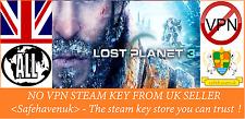 Lost Planet 3 Vapor clave no VPN región libre de Reino Unido Vendedor