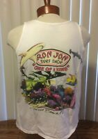VTG Ron Jon Surf Shop Cocoa Beach Sleeveless T Shirt White Single Stitch Large