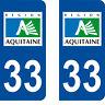 Département 33 sticker 2 autocollants style immatriculation AUTO PLAQUE