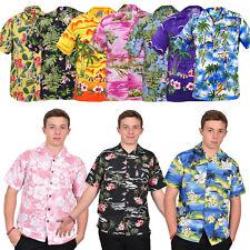 Mens True Face Hawaiian Beach Flamingo Mountains Spring Short Sleeves Shirts