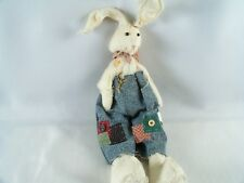 Tender Heart Treasures Rabbit Rag Doll Frayed Overalls Inside Out Stitched 1995