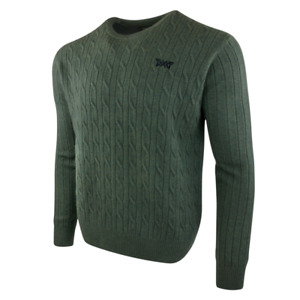 PXG Men's Cable Knit Crew Neck Sweater