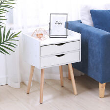Modern 2 Storage Drawers Cabinet Wooden Bedside Table Bedroom Nightstand White