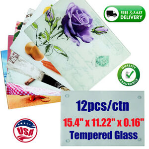 """12/CTN Sublimation Blanks Tempered Glass Cutting Board Glossy 15.4""""x11.22""""x0.16"""""""