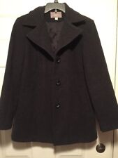 Women's Cashmere Blend Pea Coat Croft and Barrow Dark Grey Size Med