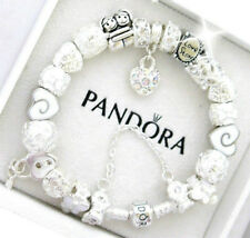 "Pandora Bracelet Silver with ""LOVE STORY"" Valentine WIFE White European Charms"