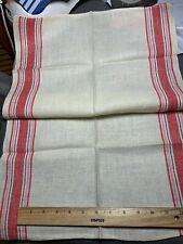 Vintage Linen Kitchen Toweling Towel Fabric Red Pink Black Stripes