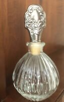 Vintage Round Ribbed Glass Perfume Bottle With Silverplate Stopper