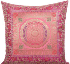 "18"" Indian Traditional Mandala Cushion/Pillow Cover Brocade Sofa Throw Pink"