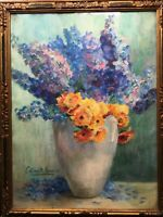Large French Impressionism painting Bouquet of Flowers in a vase Art Deco