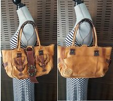 BETSEY JOHNSON Tan & Brown Brass Studded Buckle Stitched Leather Tote Purse Bag