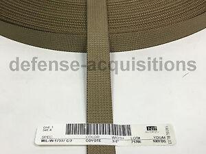 MilSpec Military Webbing 3/4 INCH MIL-W-17337 C2 COYOTE Per Yard