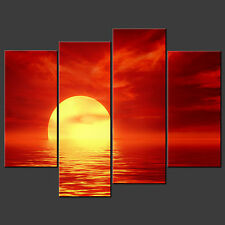 RED ABSTRACT SUNSET SPLIT CANVAS WALL ART PICTURES PRINTS LARGER SIZES AVAILABLE