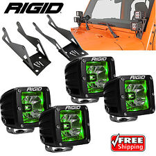 Rigid A-Pillar Mounts Radiance Green BackLight 4 LED Lights for Jeep Wrangler JK