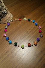 Neu unikat Regenbogen Glas kette Halskette Collier Glasperlen Perlen blau lila