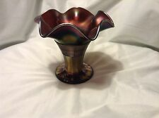 "Lovely NORTHWOOD GRACEFUL footed CARNIVAL GLASS VASE 5.5"" tall RUFFLED EDGE"
