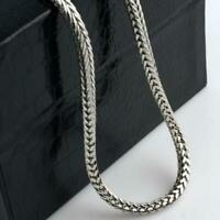 925 Sterling Silver Mens Solid Franco Square Box Link Chain Necklace 4MM
