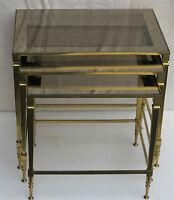 Série de 3 Tables Gigognes Montants Coniques Bronze Doré Plateaux Verre Fumé