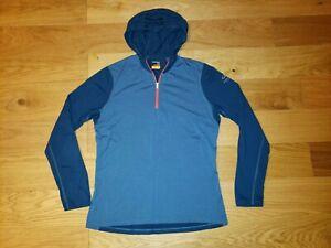 Icebreaker Merino 1/4 Zip Bodyfit 200 Long Sleeve Hoodie Sweater BLUE Size XL