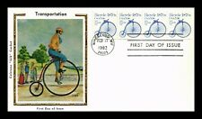 Dr Jim Stamps Us Bicycle Transportation Coil Colorano Silk Unsealed Fdc Cover