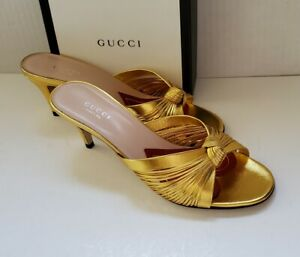 Gucci metallic gold leather slide knot sandals  IT 38.5