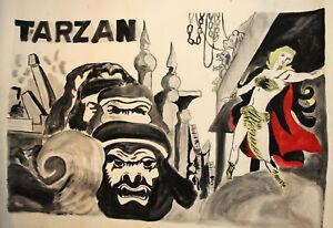 Vintage gouache painting Tarzan movie poster