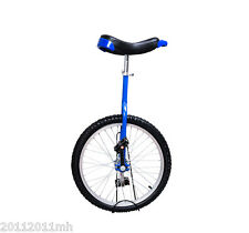 """20"""" Unicycle Wheel Free Stand Chrome Uni-bicycle Cycling Exercise Blue"""