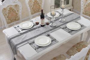 Rhinestone Chenille Place-mat Home Decor Flocked Damask Tassel Table Runner Set