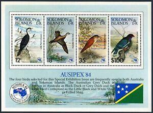 Solomon Isls 538a sheet,MNH.Michel Bl.15. AUSIPEX-1984,Birds:Duck,Dollar-bird.