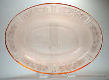 Pink Depression Glass Sharon Cabbage Rose Glass Oval Serving Dish