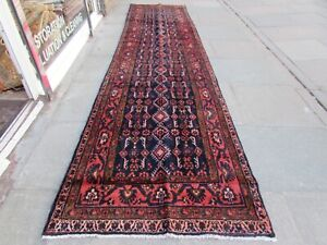 Vintage Traditional Hand Made Oriental Blue Red Pink Wool Long Runner 444x110cm
