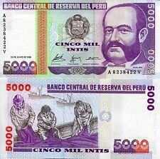 PERU 5000 Intis Banknote World Paper Money UNC Currency Pick p137 Bill Note