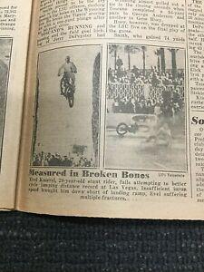 Infamous Evel Knievel CAESARS PALACE Jump - 1968 New York Daily News Newspaper