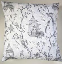 "Grey Black Birds Birdcage Shabby Chic Oriental Cushion Cover 16"" x 16"""