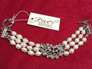 "Jewel Badgley Mischka Clear Crystal Pearl Strands Silver Plated Bracelet 7"" JE14"