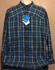 NEW Columbia Men's Size 3XL Blue Plaid Battle Ridge Long Sleeve Shirt XXXL $80