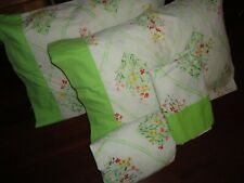 BURLINGTON FIELD OF FLOWERS GREEN RED YELLOW PINK FLORAL (4PC) FULL SHEET SET