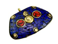 Nepal Vintage Lapis Coral Gemstone Tibetan Designer Jewelry Brass Pendant KBP532