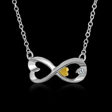 A-OK Women Silver Chain Infinity Gold Heart Crystal Pendant Necklaces Jewelry