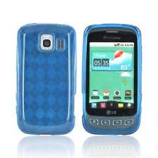 For LG Optimus V / Optimus U / Optimus S LS670 TPU Crystal Skin Case Blue Plaid