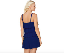 Fit 4 U V-Tiered Romper Swimsuit. Navy 26