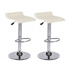 Set of 2 Swivel Chrome Base Pub Bar Stools Dinning Hydraulic Chair Black & Cream