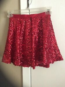 CHEROKEE Girl's Sz M 7/8 Red Sequin Lined Skirt With Elastic Waist