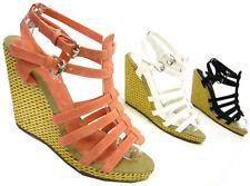 Damen-Sandalen & -Badeschuhe mit Keilabsatz/Wedge im Riemchensandalen-Stil aus Kunstleder für Sehr hoher Absatz (Größer als 8 cm)