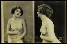 Original 1910 French Postcard Photo Shy Nude Girl Lookink Into Mirror