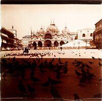 ITALIE Venise Place Saint-Marc Basilique, Photo Stereo Plaque Verre VR3L10